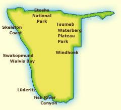 Touraco Travel Services - Namibia Karte