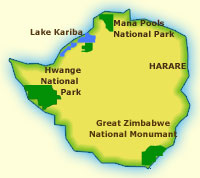 Touraco Travel Servies - Zimbabwe Karte